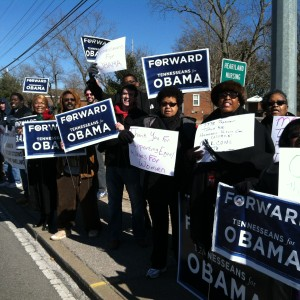 Supporters assemble to welcome President Obama to Nashville and to stand up for the issues they believe in.