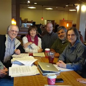 "Todd Waterman,  Harold ""Duck"" Waddle. Marlene Taylor, Jim Nelson, Rajendra Jain, Joan Nelson and June Jones plan the action for 2015.  Joe Malgeri is the photographer."